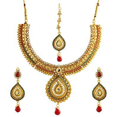 3e22e5f31 Buy Zeneme Designer Red Green Kundan Polki Jewellery Set / Necklace Set  With Earring & Maang Tika for Women Online at Low Prices in India | Amazon  Jewellery ...