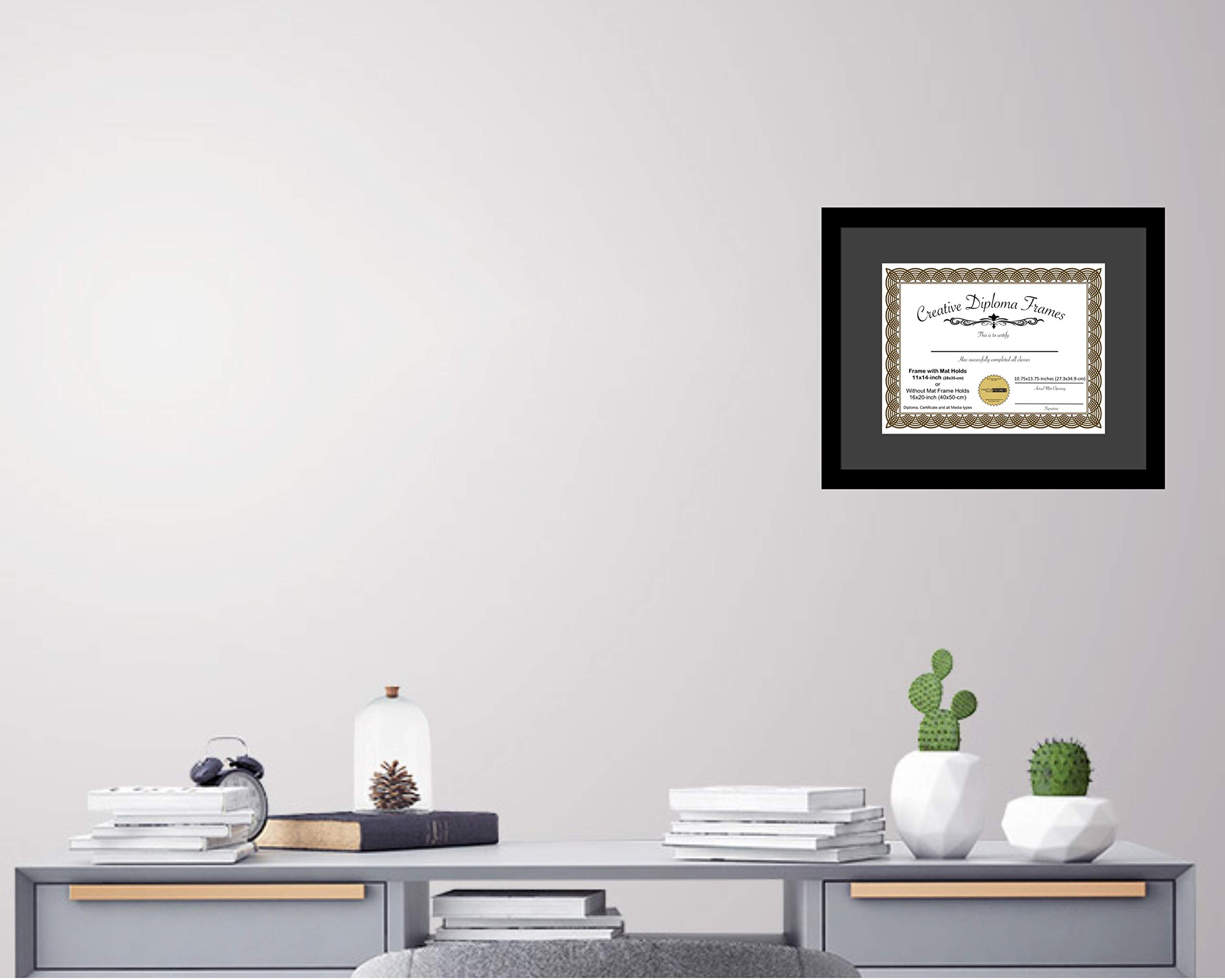 CreativePF [1620bk-b] Satin Black Large Diploma Frame with Black Mat Holds 14x17-inch Documents with Glass and Installed Wall Hanger by Creative Picture Frames (Image #5)