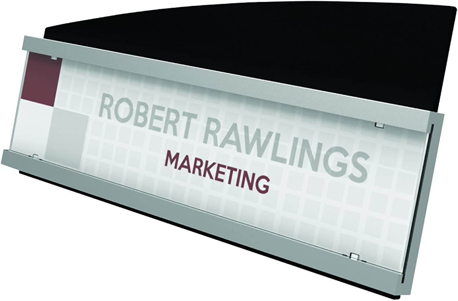 "Deflecto Interior Image Nameplate Sign Holder, Silver and Black, 8-1/2"" x 2"" (89105)"