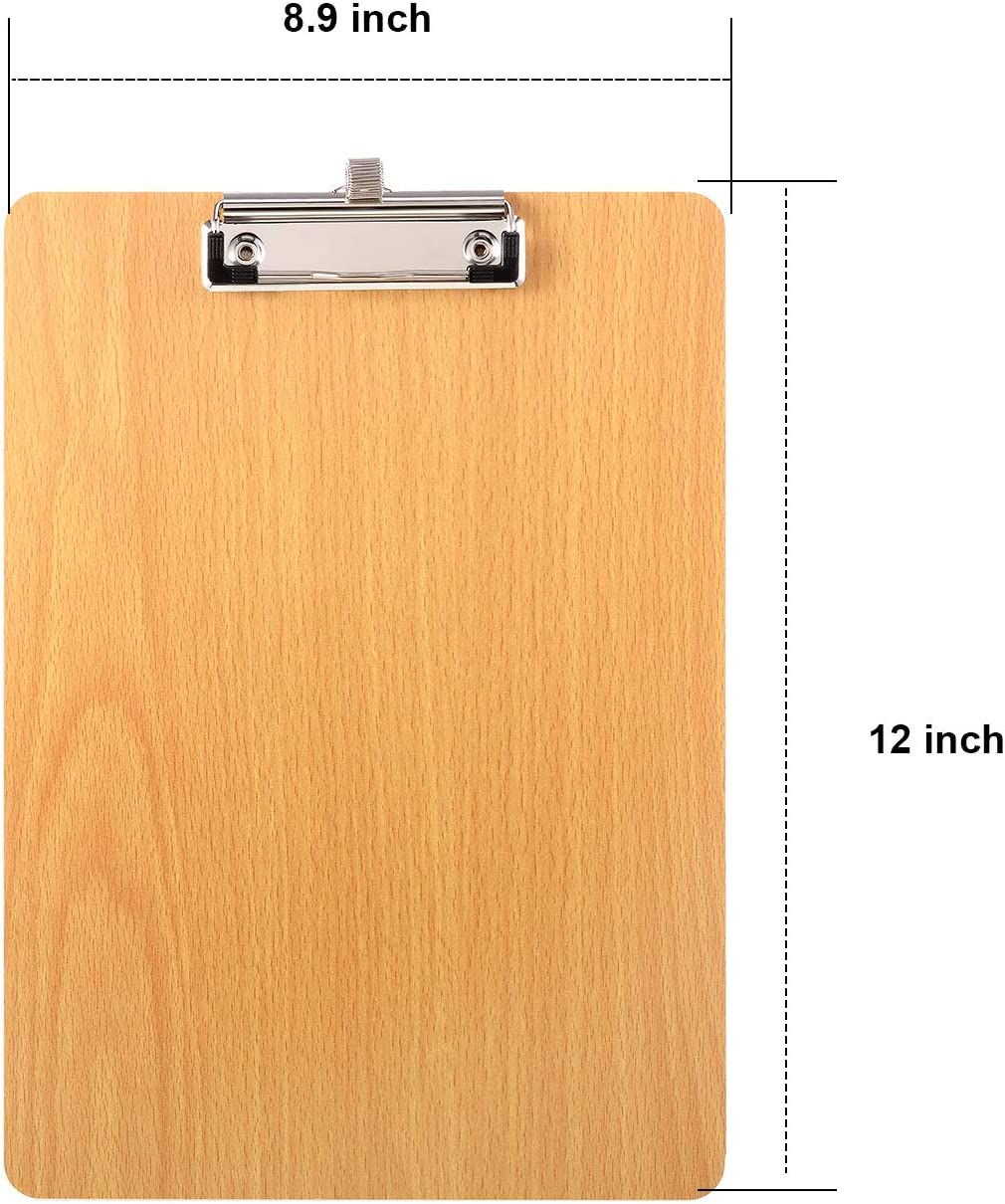 Offices Low Profile Hardboard Wooden Clipboard for Classrooms 8.9 x 12 Inches Clipboard with Pen