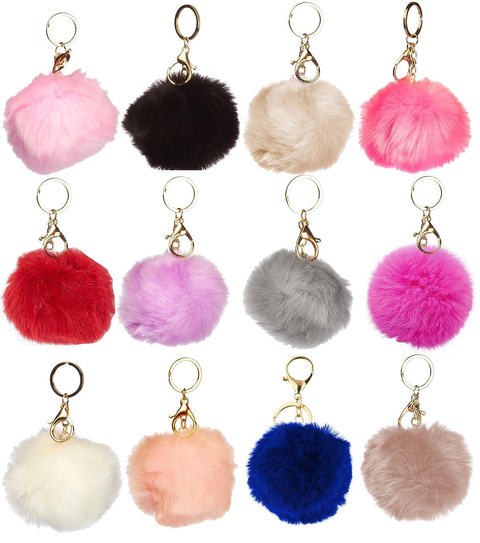 1 Dozen of Faux Fur Pom Pom Keychains J2208