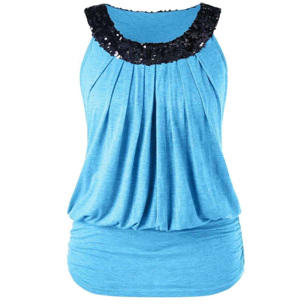 cinnamou Frauen-Große Größen-Hemd-Art- und Weiseärmellose Pailletten Sparkly O-Neck Geraffte Trägershirts T-Shirt Weste Damen Tanktop