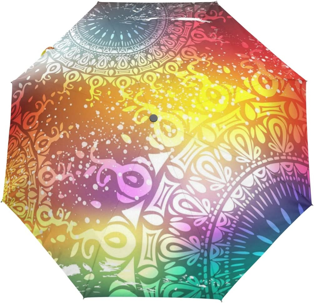 DOENR Compact Travel Umbrella Colorful Pattern Sun and Rain Auto Open Close Umbrellas Windproof UV Protection Umbrella