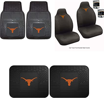 Logo On Front and Rear Auto Floor Liner MULTI/_B University of Texas Head Rest Cover and Floor mat Perfect to Texas Longhorns Fan Wow You get 2 headrest Covers and 4 Floor Mat in This Gift Set