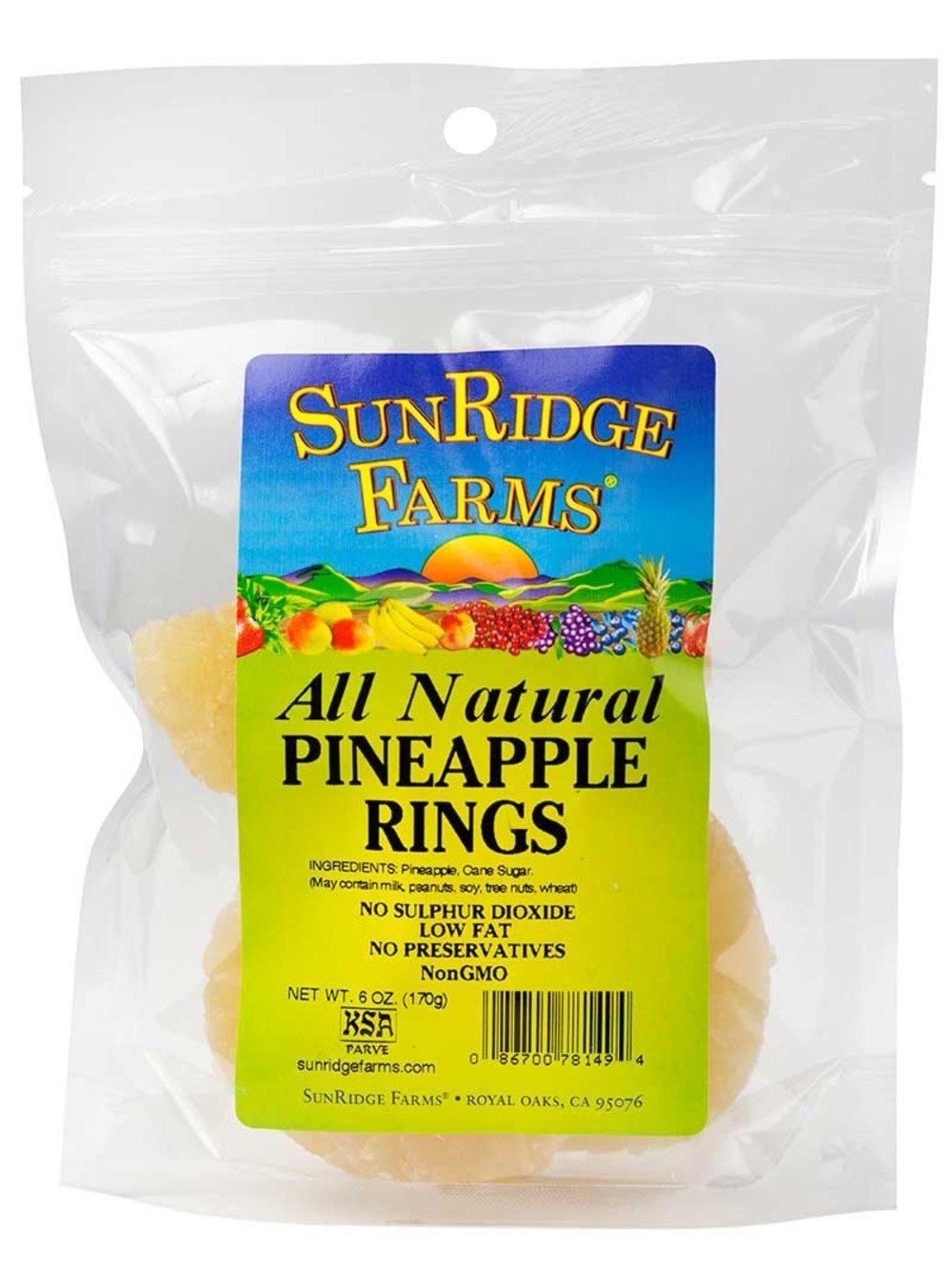 Sunridge Farms Juice-Sweetened Pineapple Rings, 6-Ounce Bags (Pack of 12)