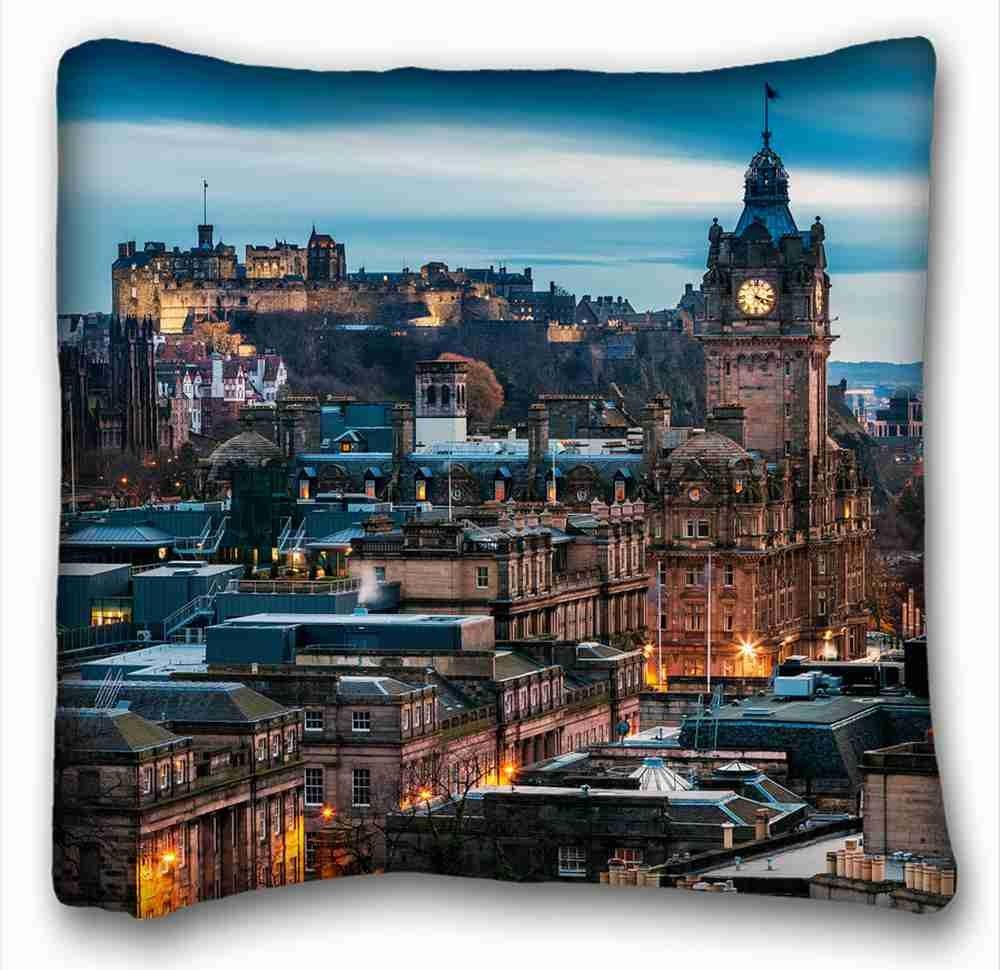 Soft Pillow Case Cover (City Edinburgh Edinburgh City Scotland Scotland Architecture Home Evening Castle Building) Pillowcase Cover 16'X16' One Side Suitable for California King-Bed PC-Yellow-4297 Cybthia Boales