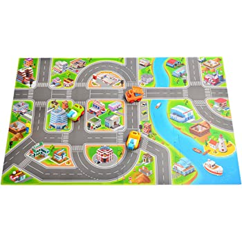 Amazon Com Melissa Amp Doug Round The Town Road Rug And Car