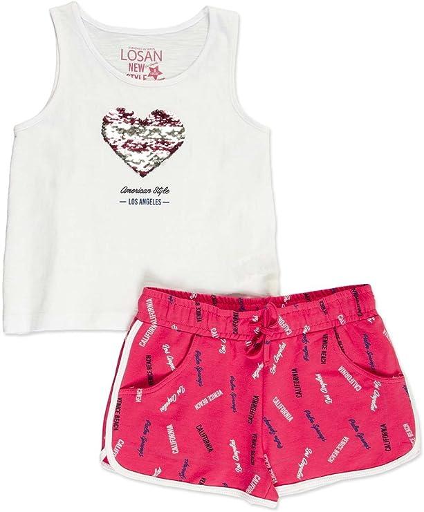 losan Conjunto niña de Camiseta con Lentejuelas Reversible y Short (14A): Amazon.es: Ropa y accesorios