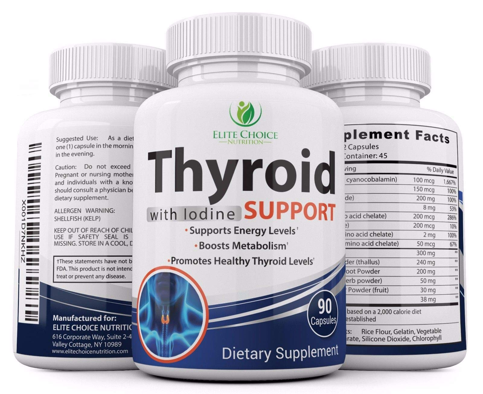 #1 Thyroid Support with Iodine Supplement for Energy Metabolism Boost 90 Tablets