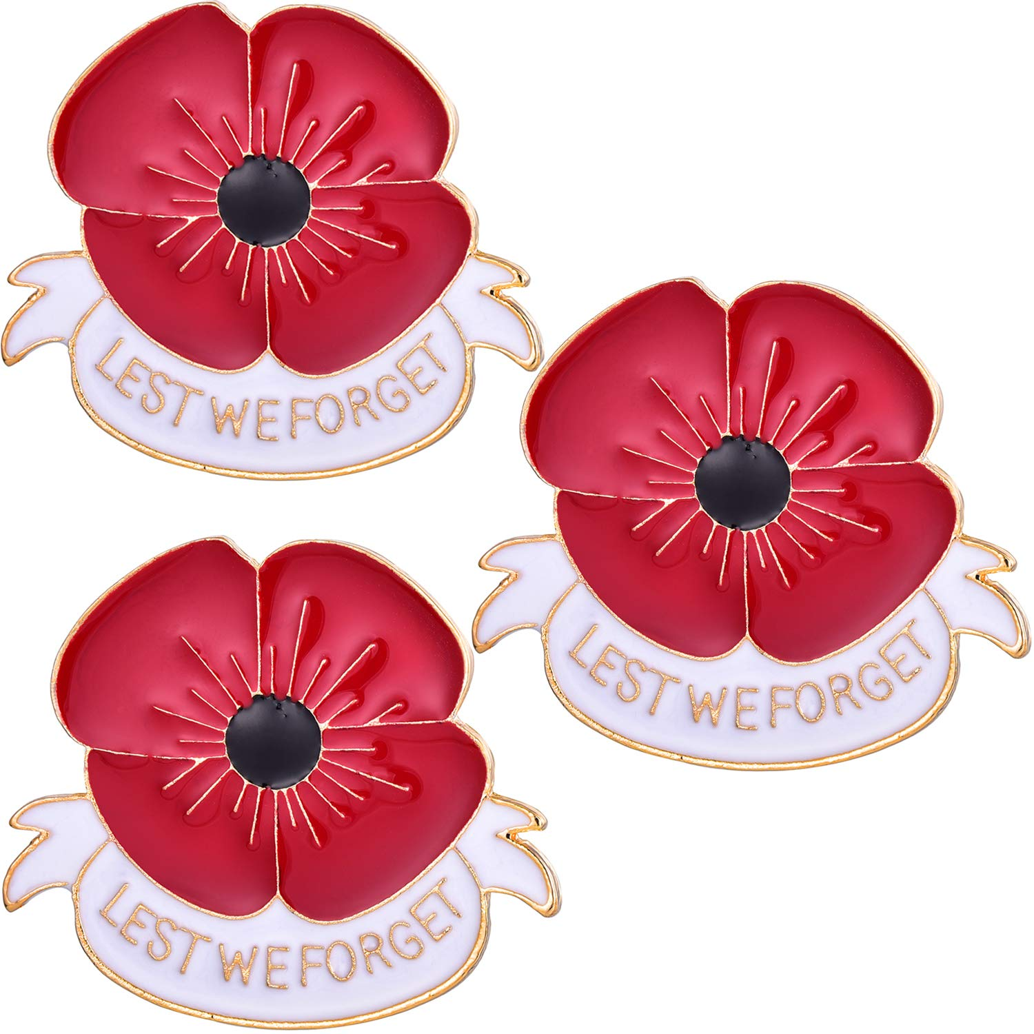 Jantodec 3 Pcs Red Poppy Brooch Lapel Pin Broach Lest We Forget