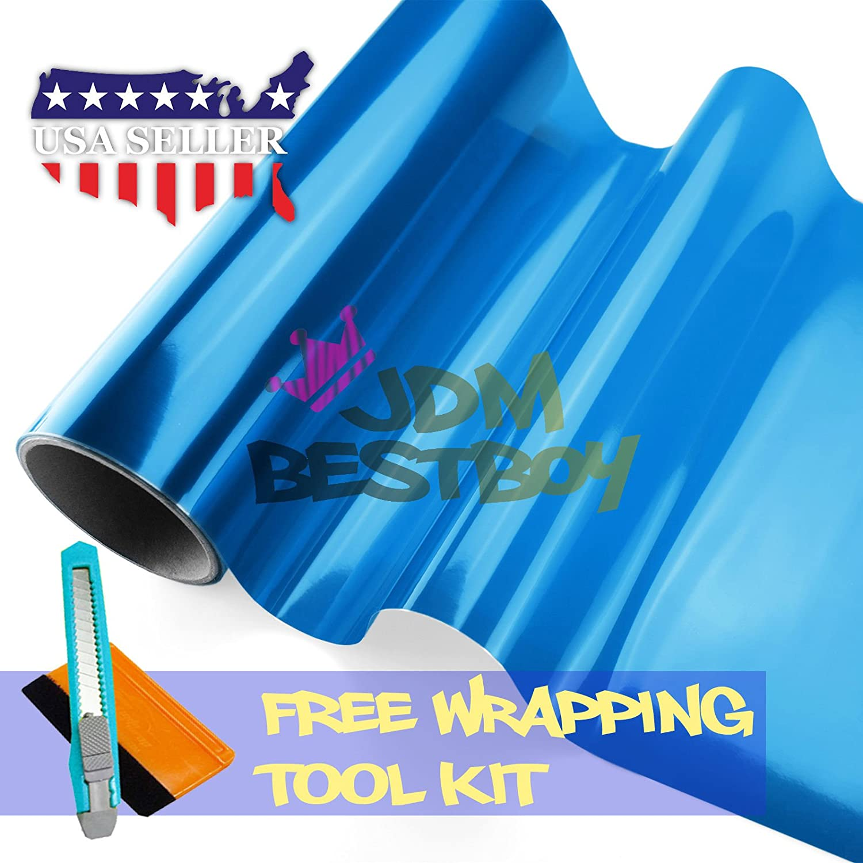 Free Tool Kit 12'x60' (1FT x 5FT) Glossy Blue Tint Headlight Fog Lights Taillight Smoke Vinyl Film Self Adhesive JDMBESTBOY