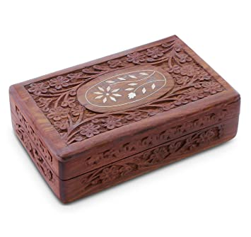 Handcrafted Wooden Jewelry/Keepsake Box with Lid - Small Wood Storage Chest Vintage Look (  sc 1 st  Amazon.com & Amazon.com: Handcrafted Wooden Jewelry/Keepsake Box with Lid ... Aboutintivar.Com