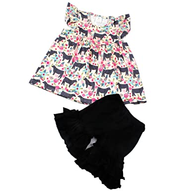d306ed941b QLIyang Baby Girls Kids Summer Boutique Clothes Animal Print Dress Ruffle  Shorts Outfit 2T Black
