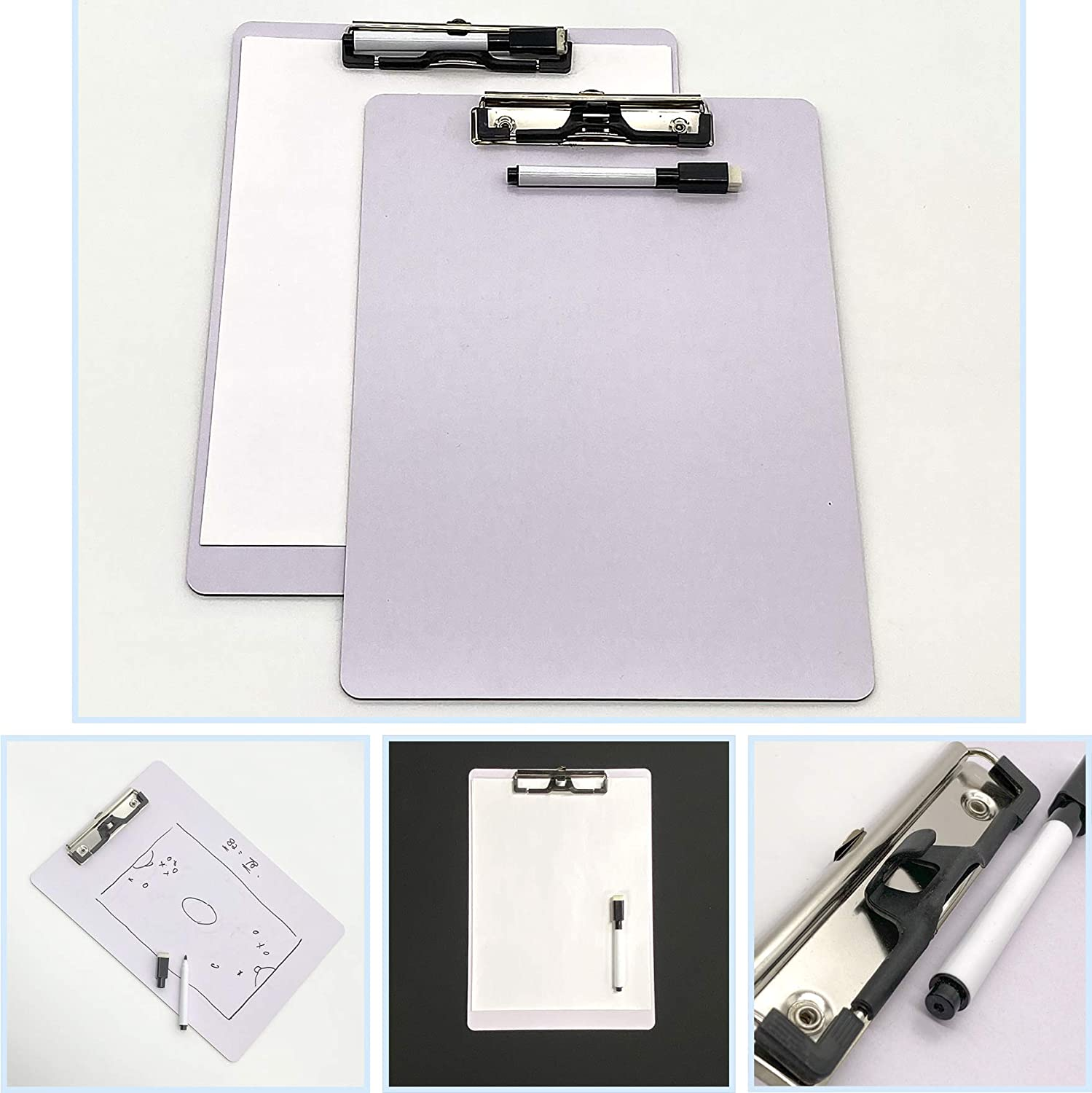 Marker /& Eraser great for teachers meeting note JCHB 2 sets Letter Size Dry Erase White Board Clipboard with Pen Clip students writing practice kids drawing game classroom double sided whiteboard