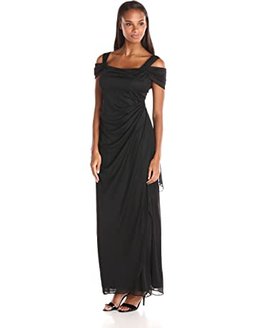 7487b2f9952ecd Alex Evenings Women s Long Cold Shoulder Dress (Petite and Regular Sizes)
