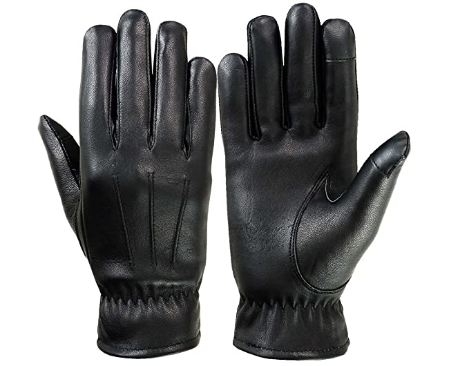 68dbe6d1b2a7a Image Unavailable. Image not available for. Color: Women Warm Winter Gloves  Dressing Glove Thermal Lining Genuine Leather Black ...