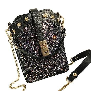 Hmeng Women Shiny Sequins Star Leather Mini Clutch Bag Purse Zipper Shoulder  Crossbody Bag Handbag Golden Chain (Black)  Amazon.co.uk  Beauty 1a4f2a21e5a2