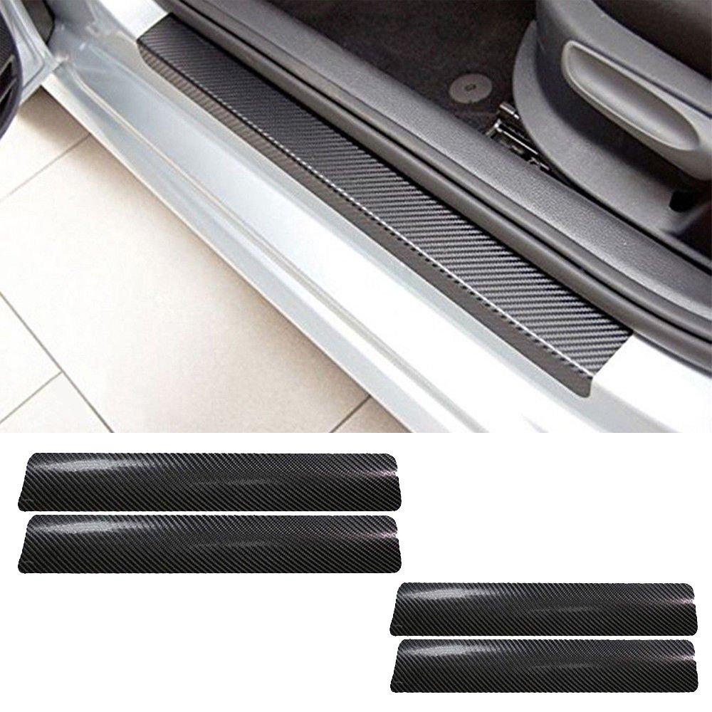 Auto Porta Davanzale Adesivo, 4 pezzi 3D Fibra di Carbonio Pedale Soglia in Fibra di Carbonio Scuff Antigraffio Adesivo di Protezione per la Portiera del Veicolo (Nero) vientiane