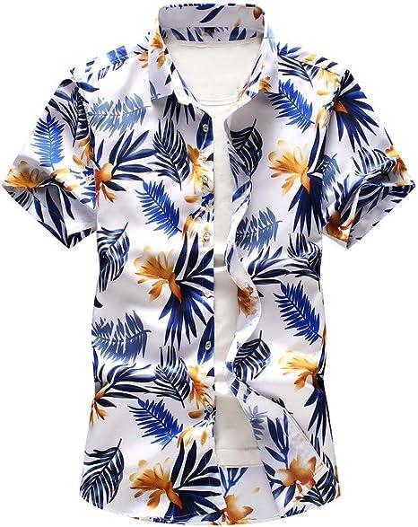 LANSKIRT Camisa Hawaiana Hombre Camisa de Botones Tops Manga Corta con Estampado Casual Cuello Vuelto Camisas de Fiesta Vacaciones Talla Grande L- 7Xl: Amazon.es: Ropa y accesorios