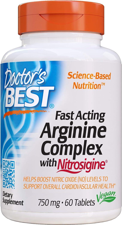Doctor's Best Fast Acting Arginine Complex w/Nitrosigine, Boost Nitric Oxide, Blood Flow & Vessel Flexibility, Non-GMO, Vegan, Gluten Free, 750mg, White (DRB-00406)