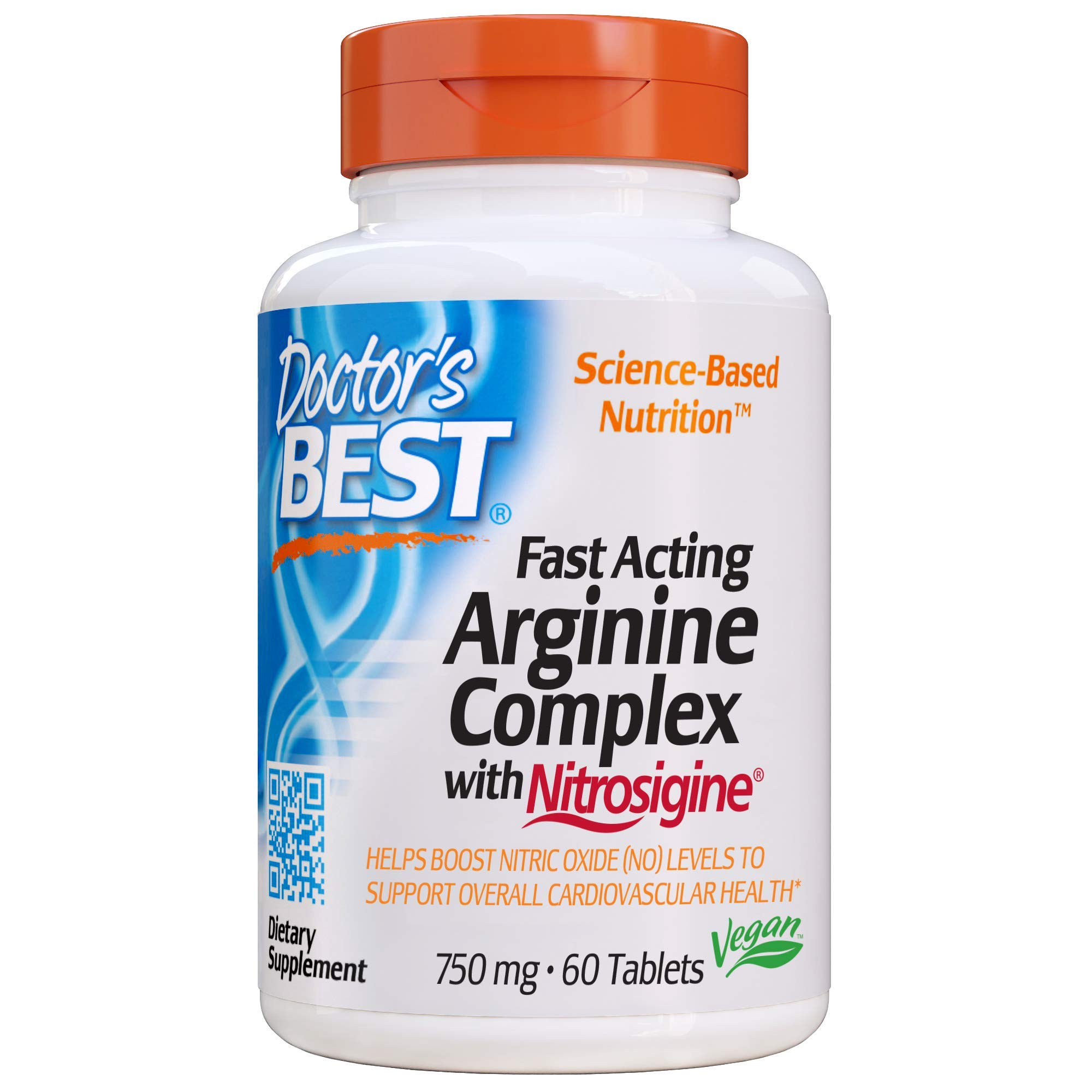 Doctor's Best Fast Acting Arginine Complex with Nitrosigine, Non-GMO, Vegan, Gluten Free, 750 mg, 60 Tablets by Doctor's Best