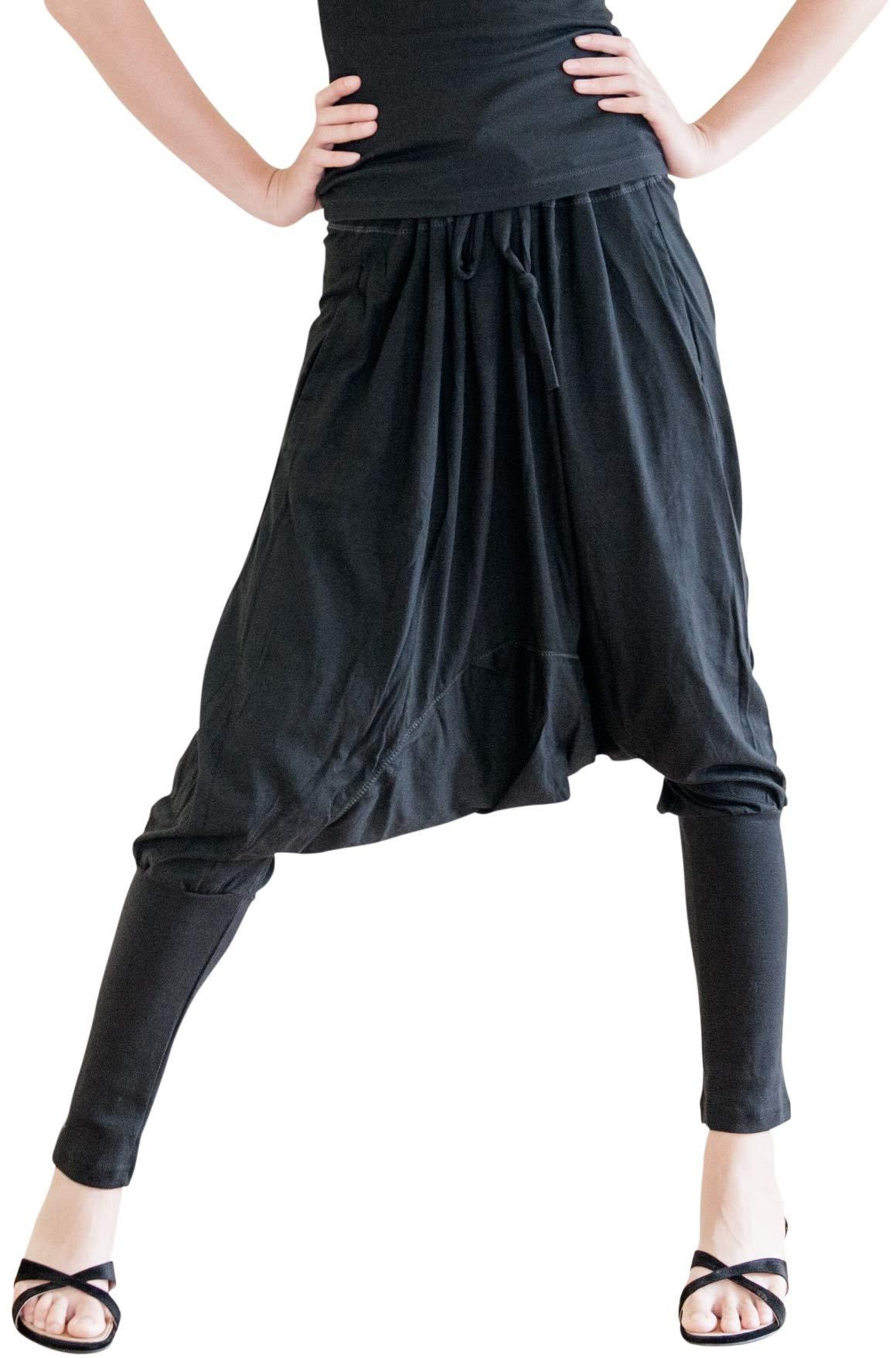 BohoHill Baggy Harem Pants Cotton Jersey Tapered Leg Unisex Trousers Black