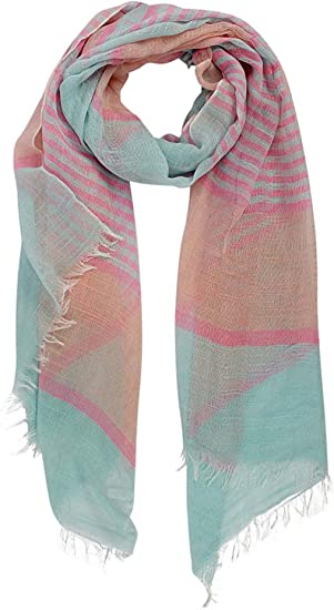 Mint Paisley Scarf with Frayed Edges