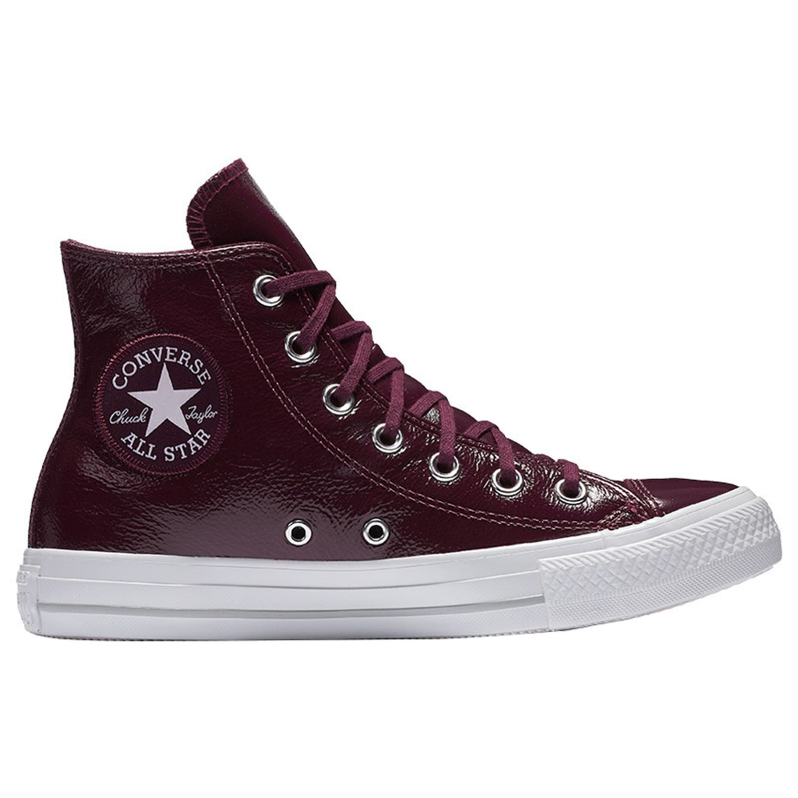 Converse Womens Chuck Taylor All Star Hi Dark Sangria Leather Trainers 7.5 US
