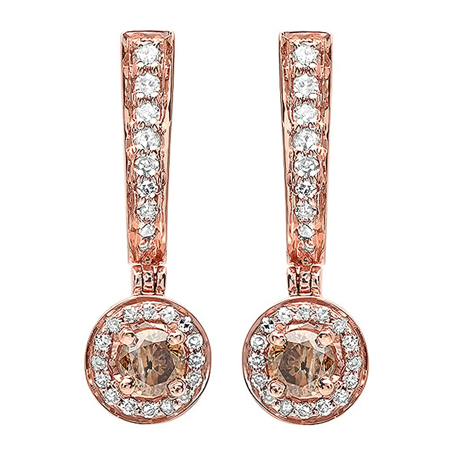 0.50 Carat (ctw) Gold Round Champagne & White Diamond Ladies Fine Dangling Drop Earrings 1/2 CT