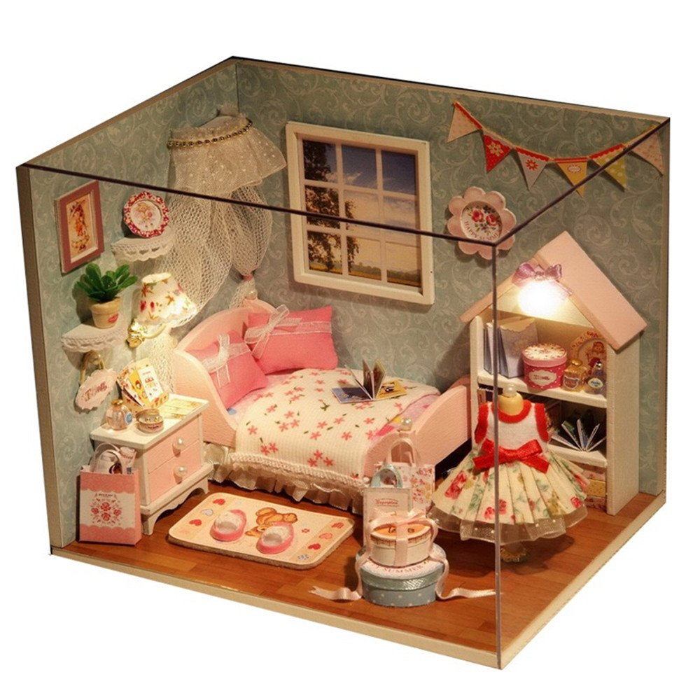 Happy Little World Flever Dollhouse Miniature DIY House Kit Creative Room With Furniture and Cover for Romantic Artwork Gift
