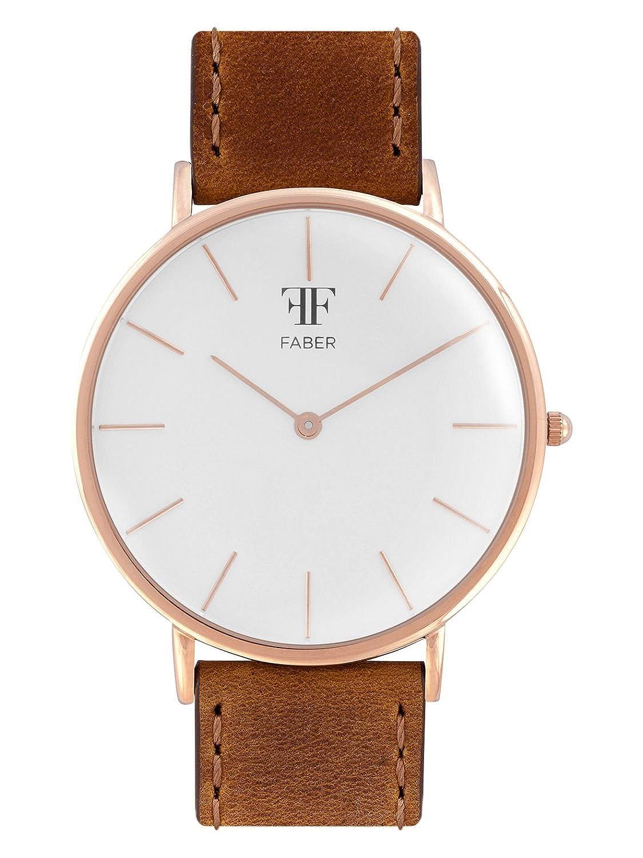 Faber Herren - Armbanduhr braun F709RG