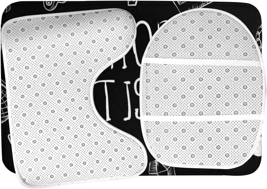 Elongated Toilet Lid Cover U-Shaped Toilet Mat Rap Music Hip Hop Doodle Accessory Bathroom Rug Set 3 Pieces Non Slip Absorbent Bathroom Rug