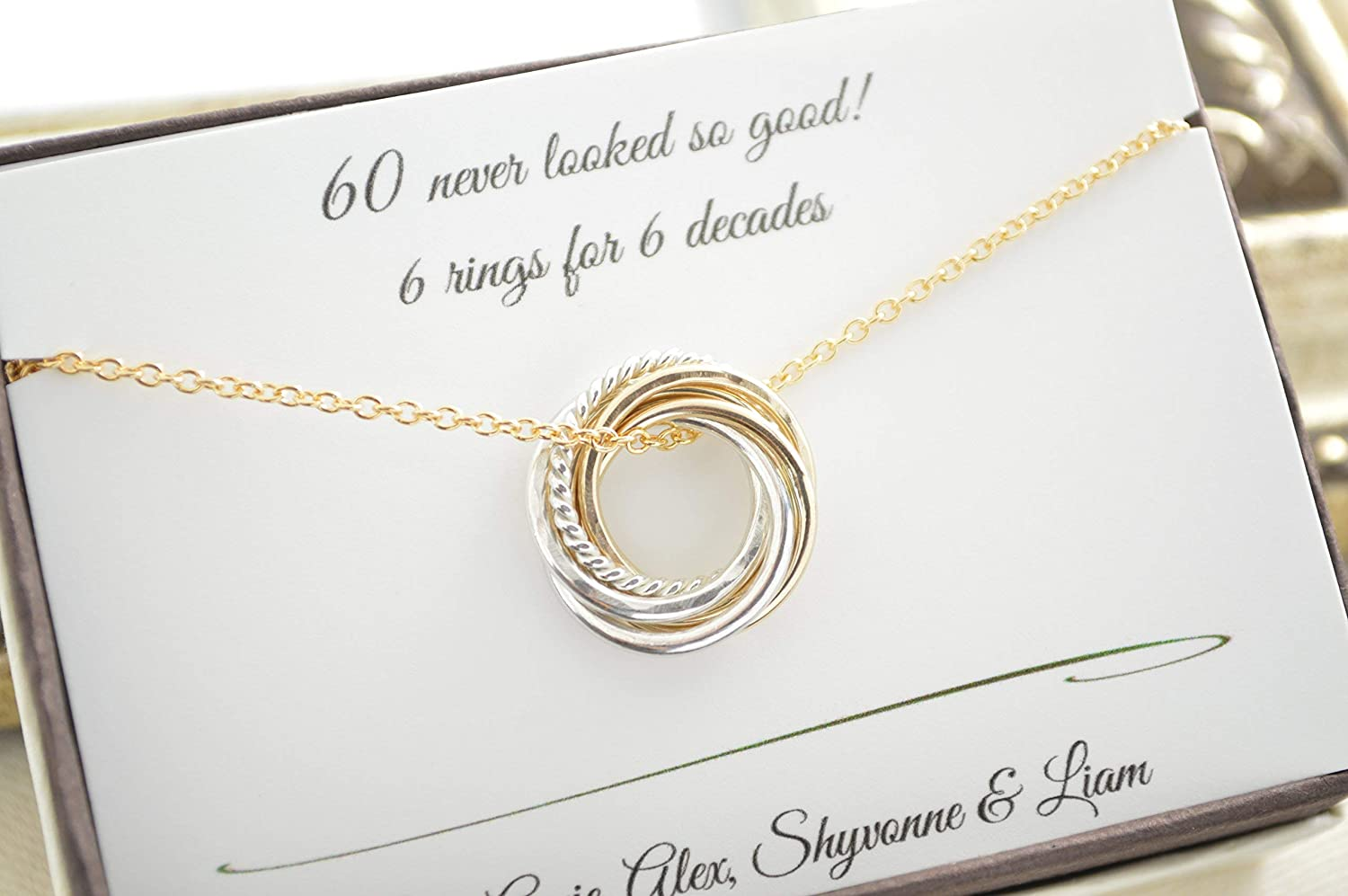 Amazon 60th Birthday Gift For Mom 6 Mixed Metals Rings 6th Anniversary Petite Necklace Gold Women Handmade