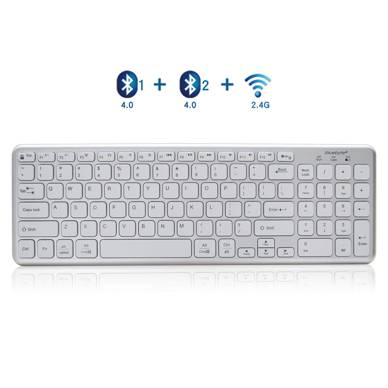 Bluetooth Keyboard,bluebyte Upgraded Version Bluetooth 4 2 LE Multi-device  Universal Wireless Keyboard with Comfortable Chiclet Key, Full Size