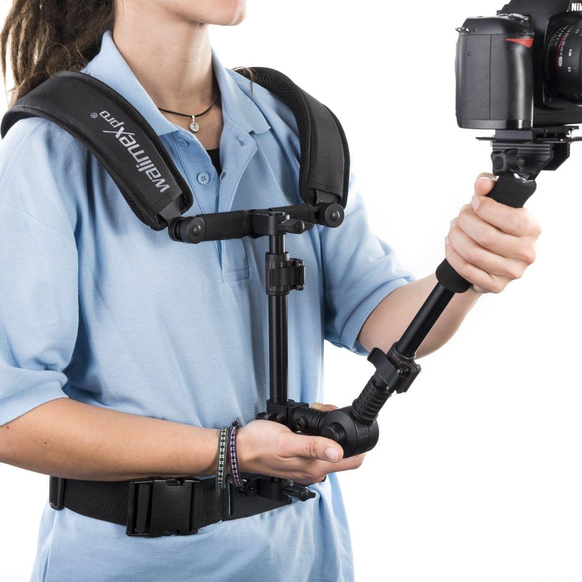 Walimex Pro Video Schulterstativ Auslegearm, Schnellwechselplatte, Bauchgurt, Follow-Fokus-Ring