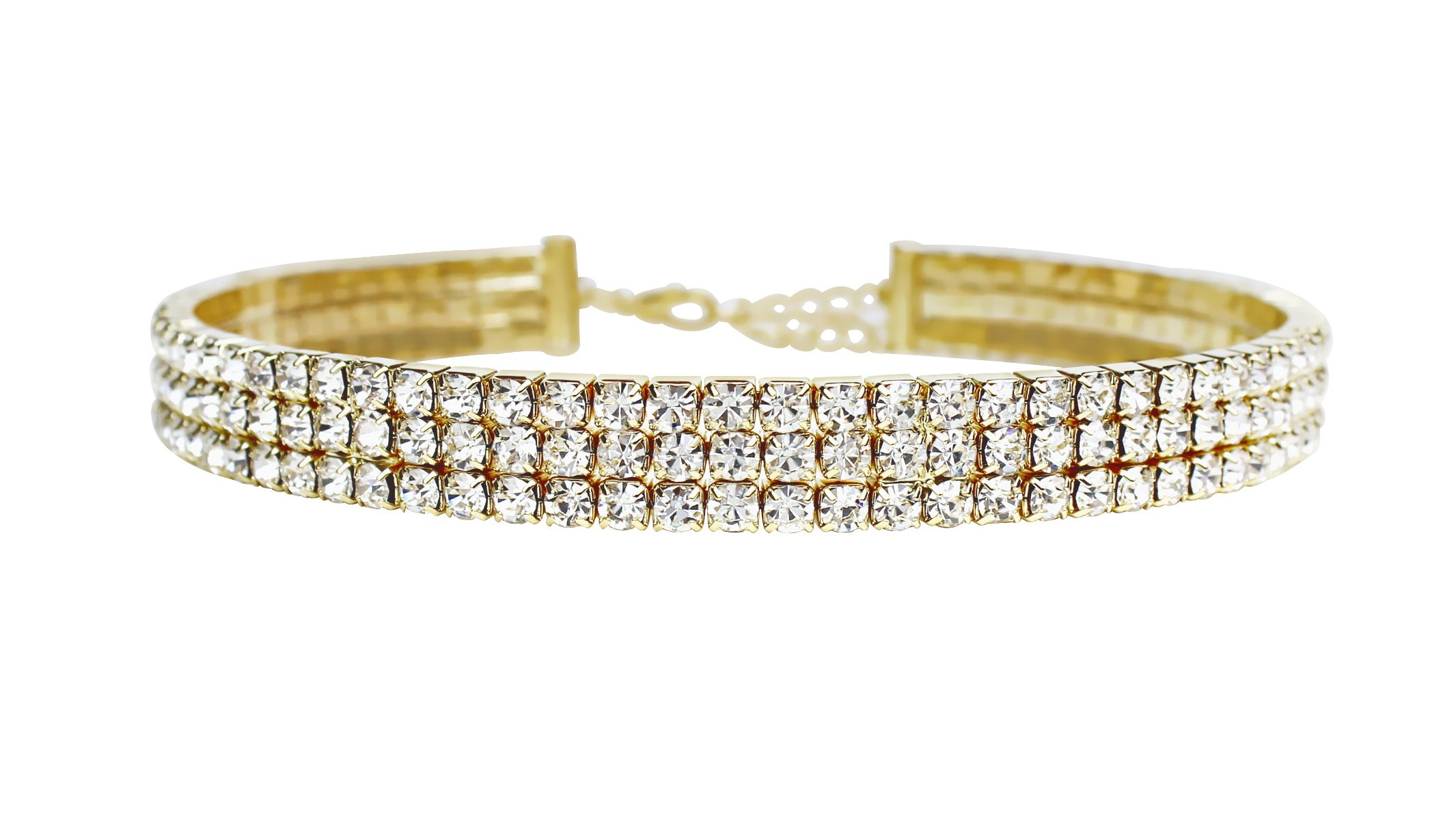 LuxeLife Gold Rhinestone Choker 3 Row by Women's Crystal Necklace Diamond Collar with 4'' Extender - Classic Fashion Jewelry Accessories – Matches Earrings, Bracelets and Rings Flawlessly