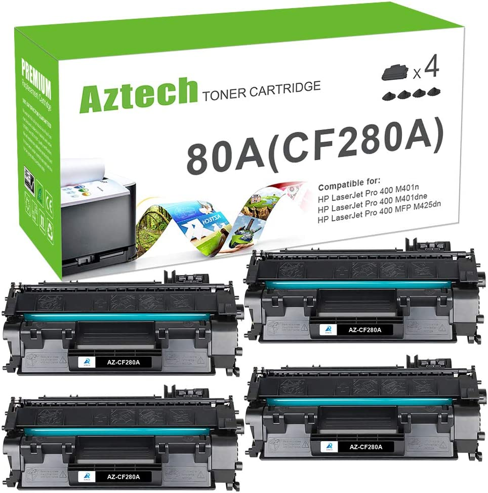 Aztech Compatible Toner Cartridge Replacement for HP 80A CF280A 80X CF280X Laserjet Pro 400 M401A M401D M401N M401DNE MFP M425DN (Black, 4-Pack)