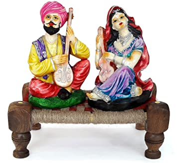Buy TIED RIBBONS Rajasthani couple idols home decor items in
