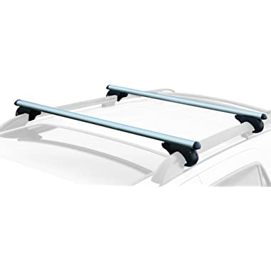 "CargoLoc 2-Piece 52  Aluminum Roof Top Cross Bar Set – Fits Maximum 46"" Span Across Existing Raised Side Rails with Gap – Features Keyed Locking Mechanism"