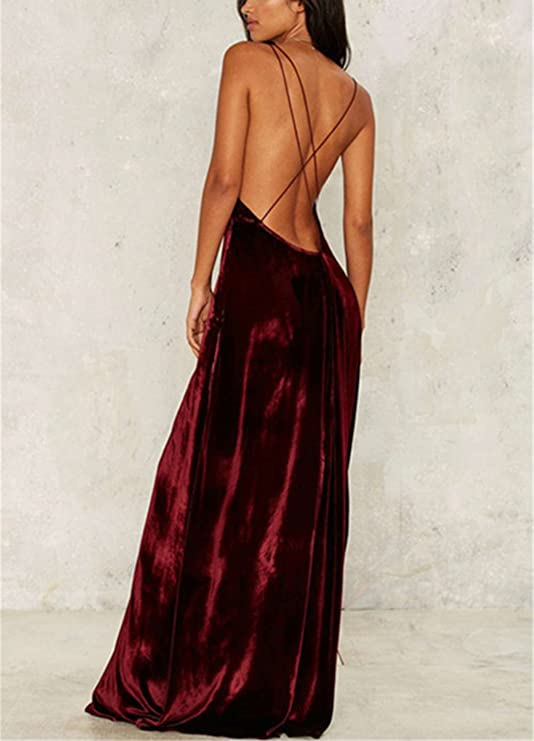 Lananas 2018 Women V-Neck Backless Front Split Evening Party Wedding Sleeveless Velvet Wine Red Long Maxi Dress at Amazon Womens Clothing store: