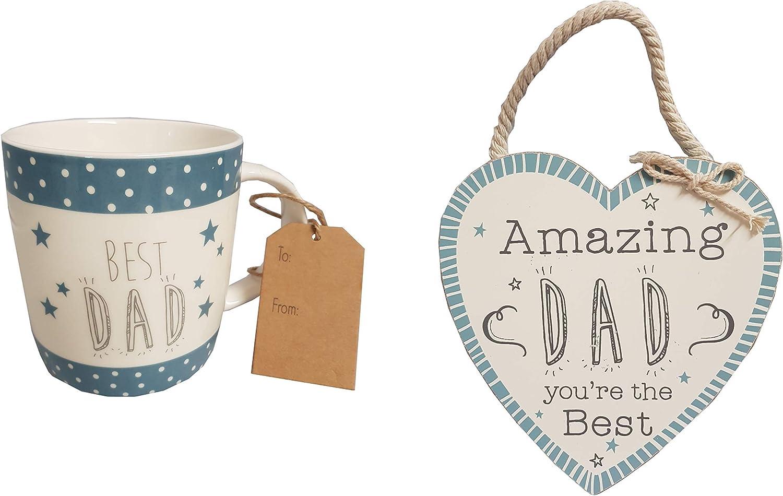 Taza de café con texto en inglés «Love Life Dad» y placa de madera para colgar en la pared: Amazon.es: Hogar