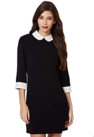 a32749177fb2 FuturaLondon Womens 3 4  Sleeve Monochrome  Black Skater Casual Block Shift  Peter Pan Collar Dress  Amazon.co.uk  Clothing