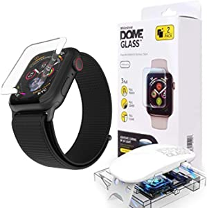 Dome Glass for Apple Watch Series 5 (44mm Band) Tempered Glass Screen Protector [Liquid Dispersion Tech] with Case for Apple Watch 5, 4 - Two Pack