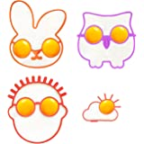 Silicone Egg and Pancake Mold - Owl/Bunny/Sun Clound/the Guy with Glasses Patterns- Set of 4