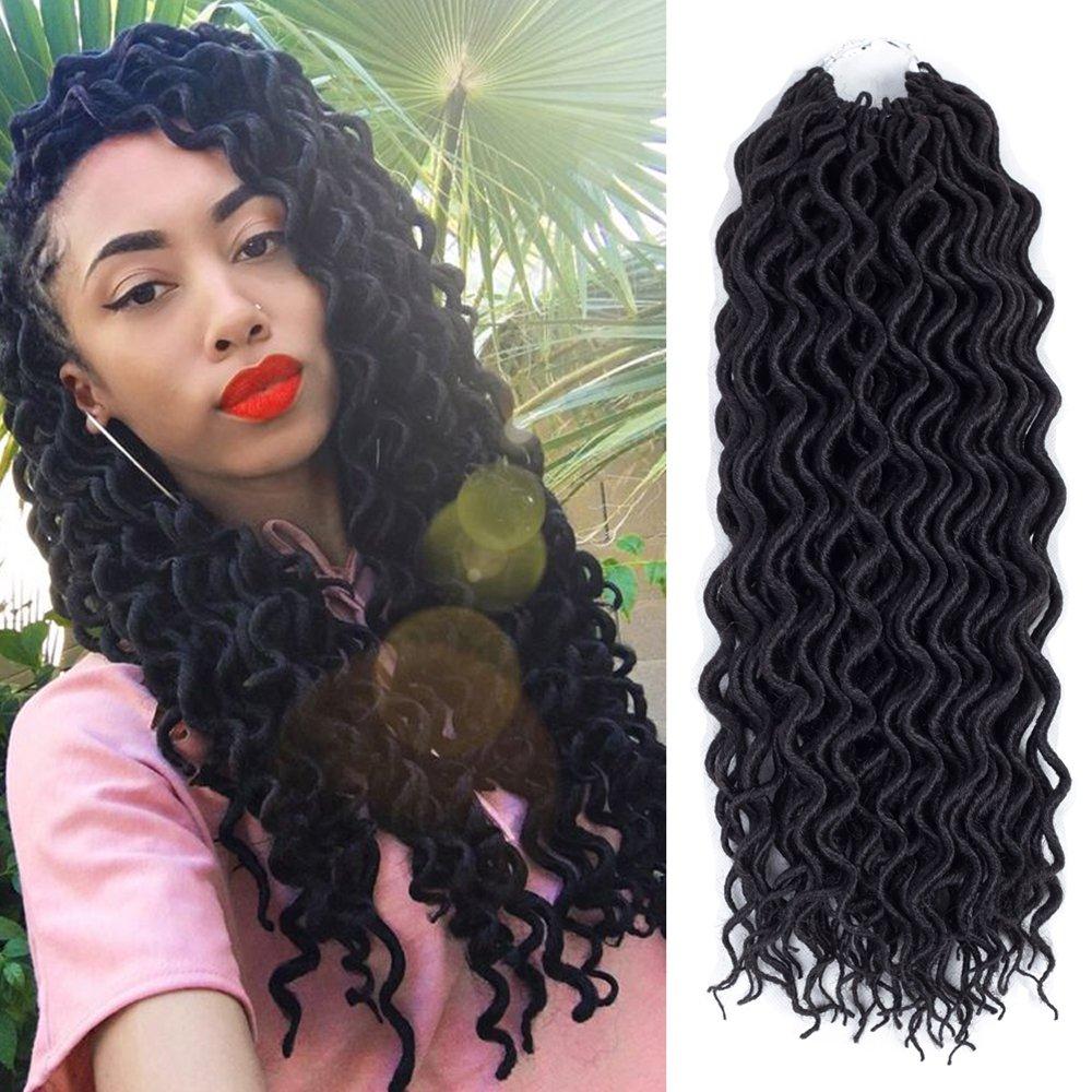 (6Packs) 22inch Curly Faux Locs Soft Hair Twist Braids Crochet Braiding Hair Braids Mambo Hair Extension 24Roots/Pack (22inch, 1B#) by MIRRA'S MIRROR
