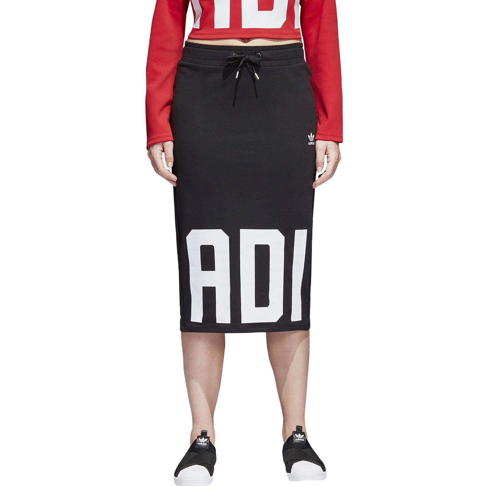 adidas Originals Womens Bold Age Logo Long Vintage Sporty Skirt - Black - S