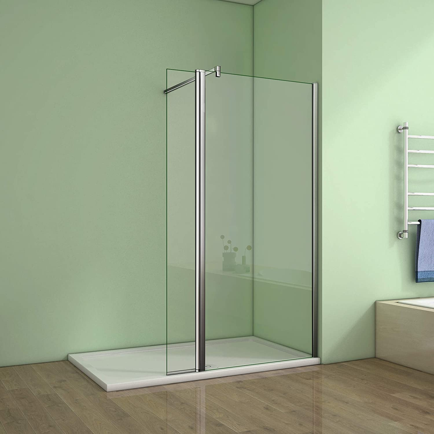 1000mm Walk in Room shower enclosure 8mm Easy Clean Glass Screen door and Tray