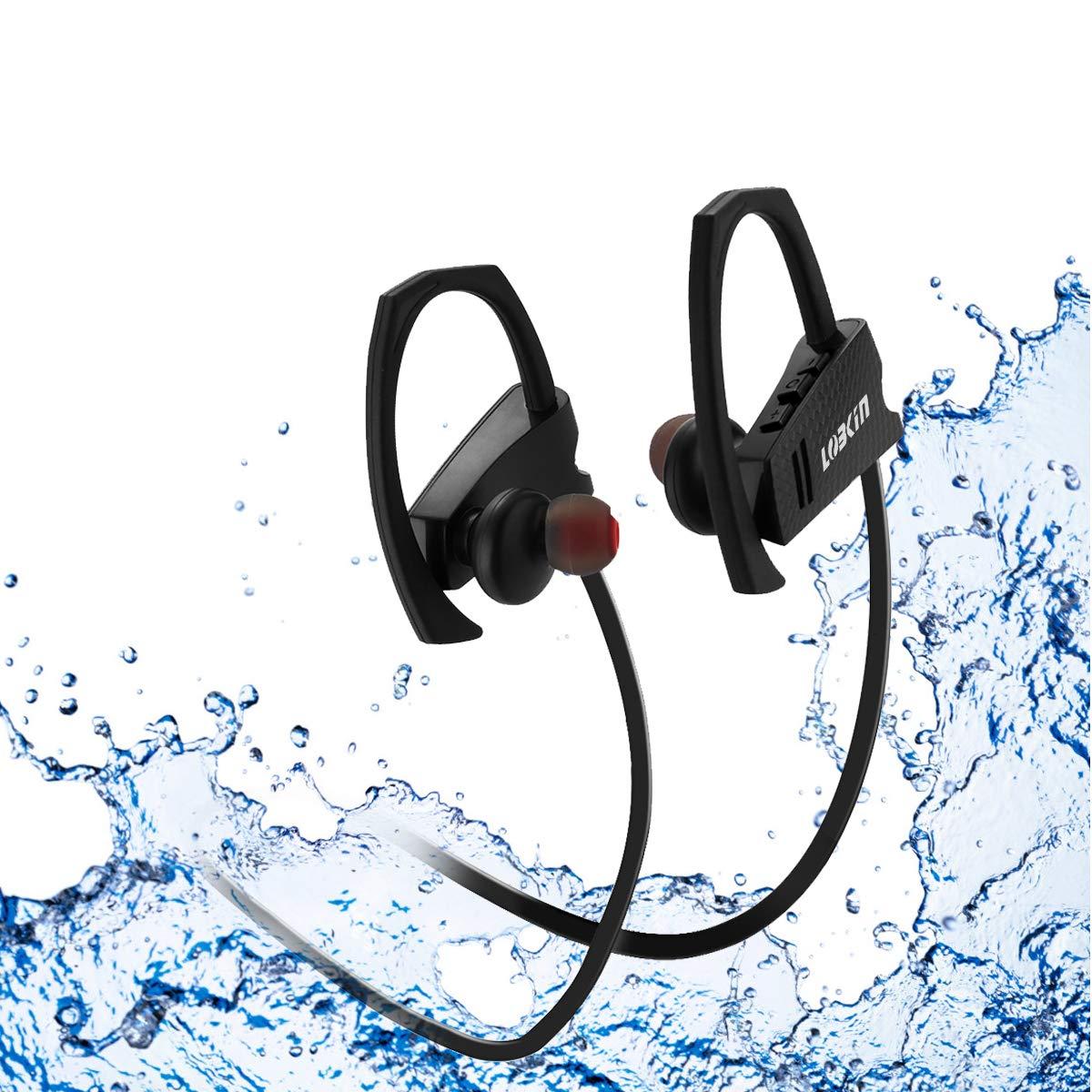 LOBKIN Auriculares Bluetooth Deportivos, Resistentes Al Sudor, con Una Autonomia de hasta 6 Horas Sonido. con Tecnologia CVC 6.0 de Eliminacion de Ruido (Negro-2)