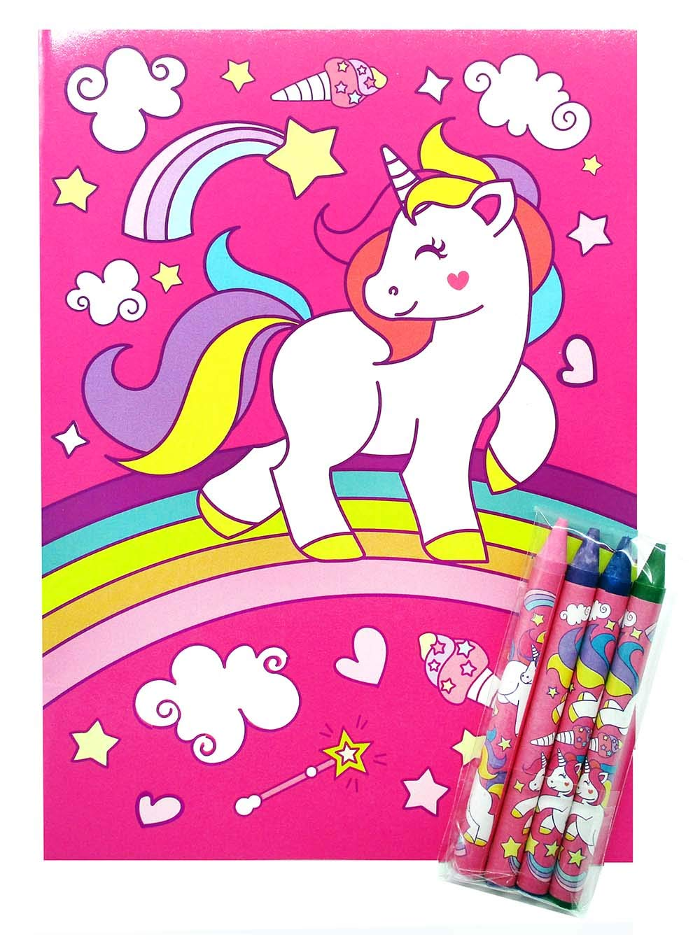 Unicorn Coloring Books with Crayons Party Favors, Set of 12 10