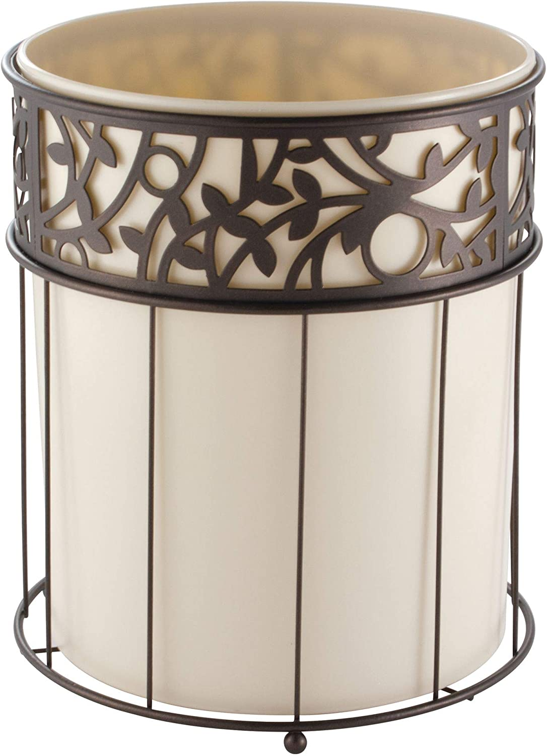 iDesign Vine Metal and Plastic Wastebasket Trash Can Garbage Can for Bathroom, Bedroom, Home Office, Kitchen, Patio, Dorm, College, Vanilla Tan and Bronze